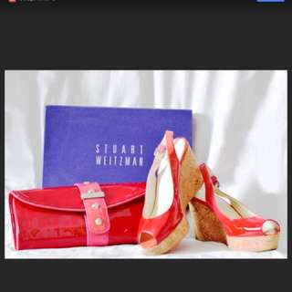 Stuart Weitzman Platform Cork Sling Back Wedge Sandal Glossy red/pink with matching clutch