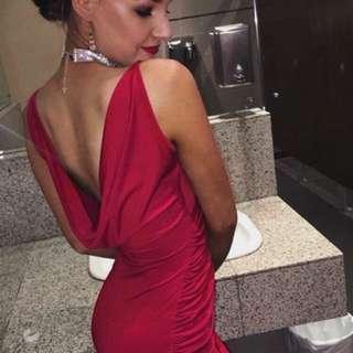 Red Silk Formal Dress Size 10