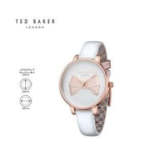 """全新Ted Baker """"Brook"""" 女款白色錶帶玫瑰金蝴蝶結手錶watch ✨✨✨"""
