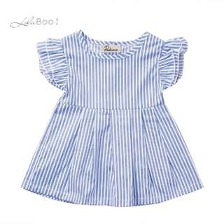 Girls Striped Petal Sleeve Summer Dress