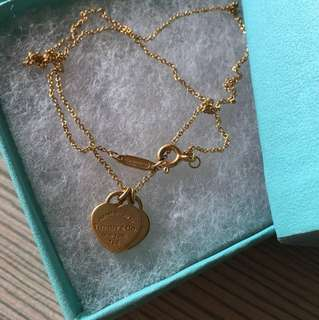 Tiffany&Co 18k 750 au750 雙牌心心頸鍊