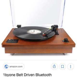1BY ONE BLUETOOTH Belt Driven Turntable with Speaker, Natural Wood