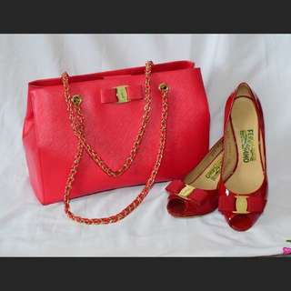 Ferragamo Red Pamplona Pebble Calf, strings bag with matching Red Rosso Patent Calf Peep toe