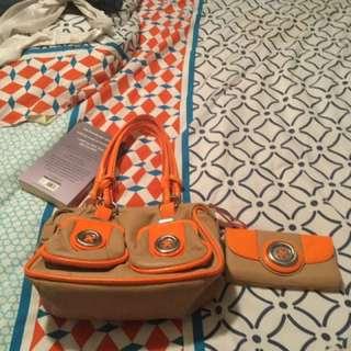 Orange Mimco bag matching wallet make a offer just want gone