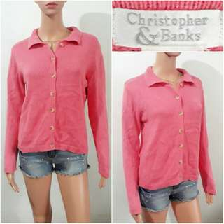 (L) Christoper Bank coral pink sweater