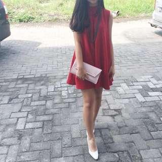 Red High Neck Dress