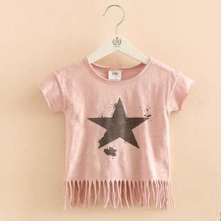 2T Pink Cotton Star Top with Funky Hem