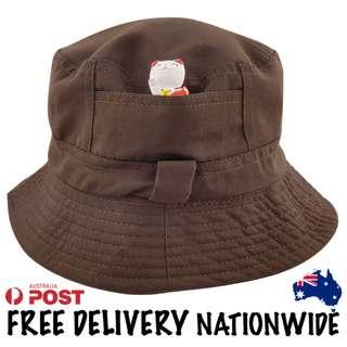 Brown Cotton Bucket Hat
