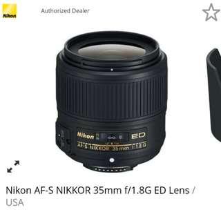 NikonAF-S NIKKOR 35mm f/1.8G ED Lens