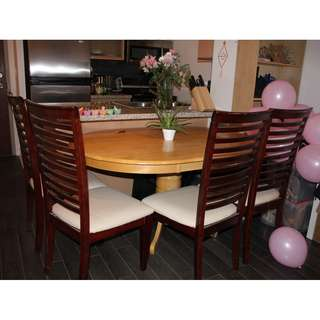 Dining Room Set (Real Wooden Table + 4 Real Wooden Chairs )