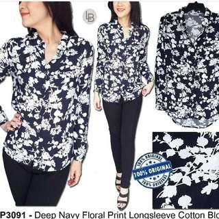 BPC Deep Navy Floral Print Longsleeve Cotton Blouse