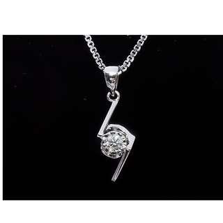 全新18K白金9份極簡風格鑽石頸鏈(贈18K鍊)—1042-32