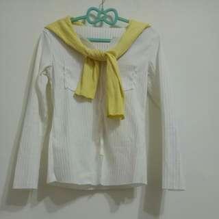 自配款V領白色羅紋上衣S. M🉑贈黃色上衣當披肩