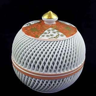 有田燒琴峰作雙重網構鏤空茶罐