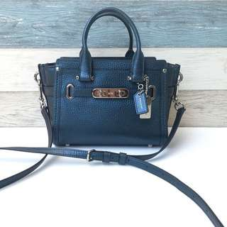 Coach Swagger Small Satchel tote Bag Metallic Leather. Navy