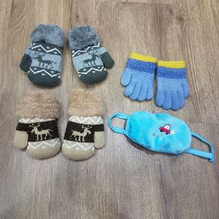 4pcs Baby Winter Glove & Mask