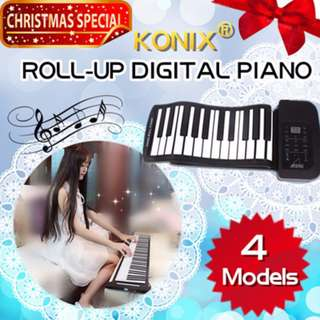 KNOIX 61/88 KEYS PORTABLE SILICONE ROLL-UP DIGITAL PIANO / SOFT KEY MIDI KEYBOARD / WITH SPEAKER / COMPUTER IPAD IPHONE SMART PHONE ANDROID IOS COMPATIBLE HAND ROLL / CHRISTMAS GIFT