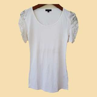 Topshop white lace sleeves