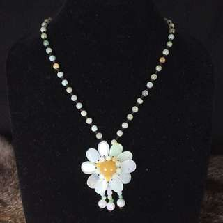 Type A Burmese Jade Jadeite Flower Necklace - 27.49g length: 33cm dimensions of flower: 4.6 By 4.6 By 1.3cm