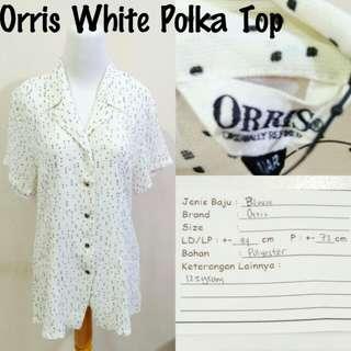 Orris White Polka Top | Pakaian Wanita | Atasan Import