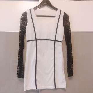 黑白線條蕾絲接袖洋裝