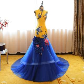 Gown Collection - Yellow Mix Blue Cheongsam Style Event Gown