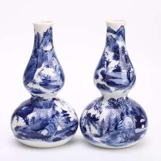 清水燒染付山水樓閣小花瓶/酒壺一對