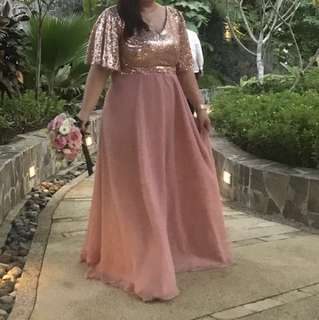 PLUS SIZE BLUSH PINK W GLITTER TOP GOWN