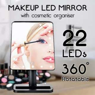 [22 LEDs] Magical Intelligence Touch-Led Brightness Adjustable Mirror with Cosmetic Organizer / 360 degrees rotation / Everyone derserves a Professional Mirror Your look matters a lot!