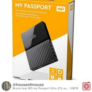 Brand New WD MY PASSPORT 2TB EXTERNAL HARD DRIVE selling at $119