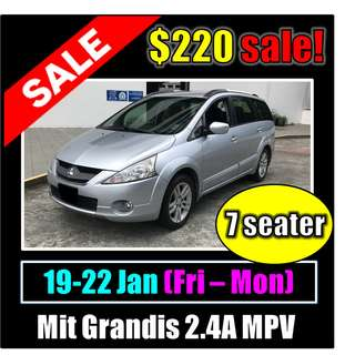 SALE Fri to Mon Car Rental Mit Grandis 2.4A (MPV)