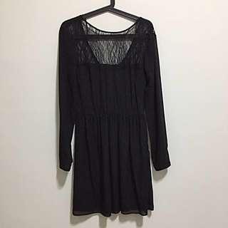 🚚 ZARA黑色蕾絲雪紡洋裝(M)