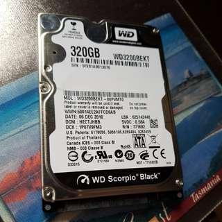 """WESTERN DIGITAL BLACK 2.5"""" 320GB HDD"""