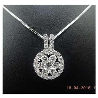 【D-W 香港鑽石世界】《精緻鑽石吊咀》全新18K白金 77份 拼鑽 鑽石吊咀 --- 004455A-68