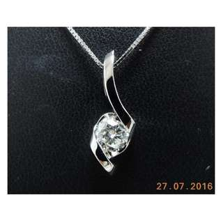 【D-W 香港鑽石世界】《精緻鑽石吊咀》全新14K白金 25份 時尚鑽石吊咀 --- 000261-40
