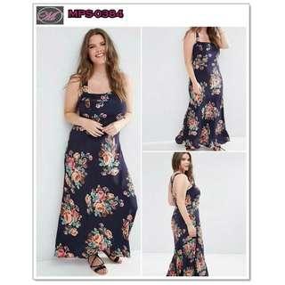 CODE: MPS-0384 Plus Size Cross Back Floral Maxi Dress