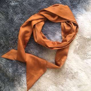 New silky terracotta neck tie scarf