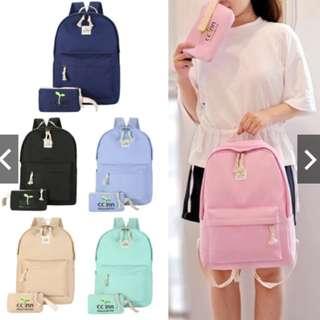 [Local Ready Stock] 2in1 Set Korea Backpack School Laptop travel bag Bag - B022