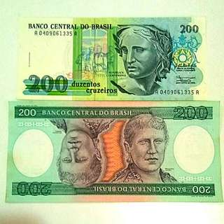 Banco Central Do Brasil UNC old and new 200 Would Notes / Lama dan Baru BRASIL 200 kertas