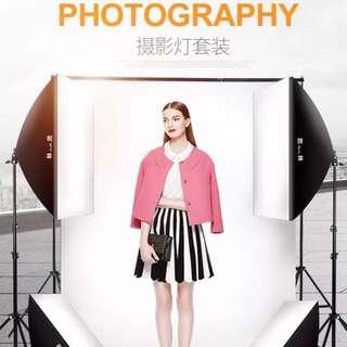 Studio Photography lighting and backdrop set