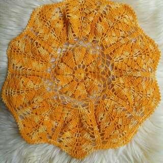 Taplak Meja Rajut Crochet Knitting Handmade Warna Kuning Gradasi dengan Benang Katun