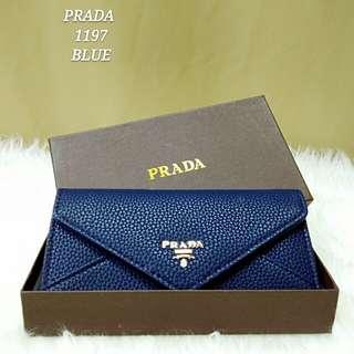 Prada Envelope Wallet Dark Blue Color