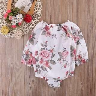 🌟INSTOCK🌟 Vintage Rose Long Sleeves Baby Toddler Girl Romper Children Kids Clothing