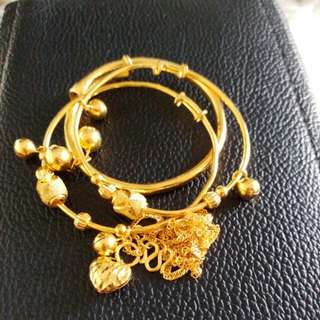 9999 gold bb bangles and necklace