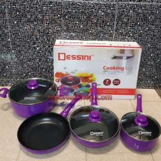 Peralatan Dapur Panci Cooking Set 7 Piece Dessini - Ungu