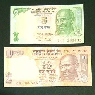 Reserve Bank of INDIA UNC Banknotes Five and Ten Rupees Carrency Money / Duit INDIA