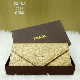 Prada Envelope Wallet Champagne Gold
