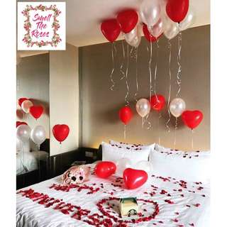Wedding proposal Valentines Surprise Romantic Room Deco