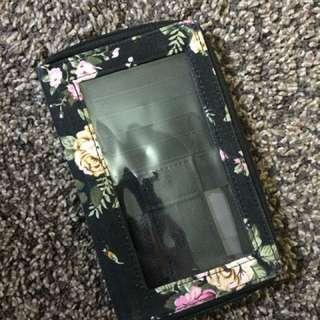 Black Floral Wallet Pouch Phone Case