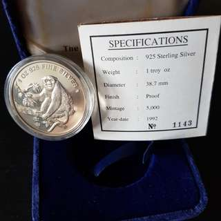 1992 Monkey Singapore Silver Proof Coin